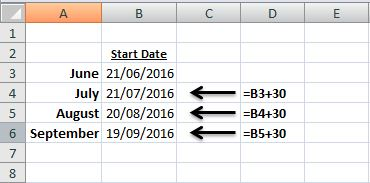 how do i add 30 days to a date in excel?